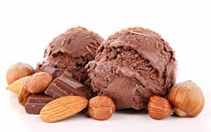 Фотография Сладости Мороженое Шоколад Орехи Фундук Шар Пища Еда