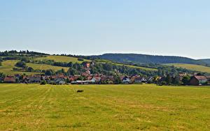 Картинки Германия Дома Поля Auleben Thuringia Города
