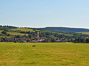 Картинки Германия Дома Поля Auleben Thuringia
