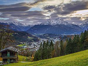 Фотографии Германия Горы Здания Небо Пейзаж Бавария Деревьев Облака Природа