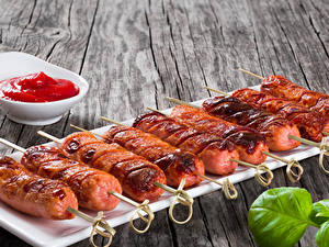 Фотография Мясные продукты Сосиска Кетчупа