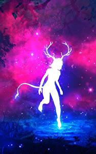 Картинки Сверхъестественные существа Силуэт Рога Хвоста Deer Woman Фантастика