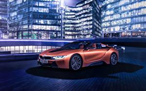 Обои БМВ Родстер Оранжевый 2018 i8 Roadster