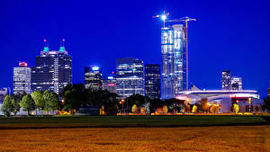 Обои Канада Дома Ночь Уличные фонари Edmonton Города