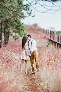 Фотография Влюбленные пары Мужчины Трава Тропа Двое Целует Свидание Девушки