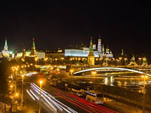 Фото Москва Московский Кремль Мосты Россия В ночи город