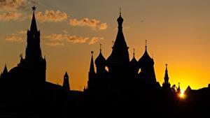 Обои Москва Россия Рассветы и закаты Московский Кремль Силуэт Города