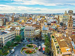 Картинка Испания Здания Городская площадь Крыше Valencia Города
