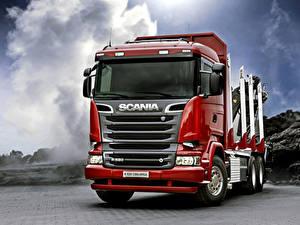 Обои Грузовики Scania Спереди Красный R520, 2013, 6x4