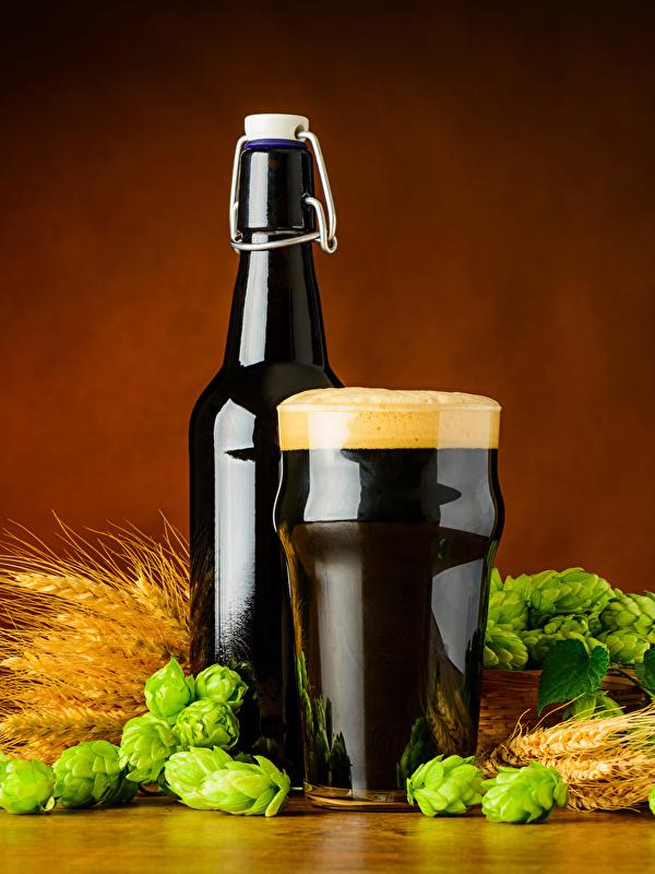 Обои для рабочего стола Пиво Хмель Пшеница колоски стакана Пена Бутылка Продукты питания 600x800 для мобильного телефона Колос Стакан колосья колосок стакане Еда пене Пища пеной бутылки
