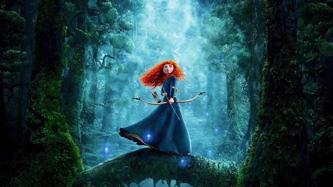 Картинки Храбрая сердцем Лучники рыжих Merida мультик девушка 1366x768 рыжие Рыжая Девушки Мультики Мультфильмы молодая женщина молодые женщины