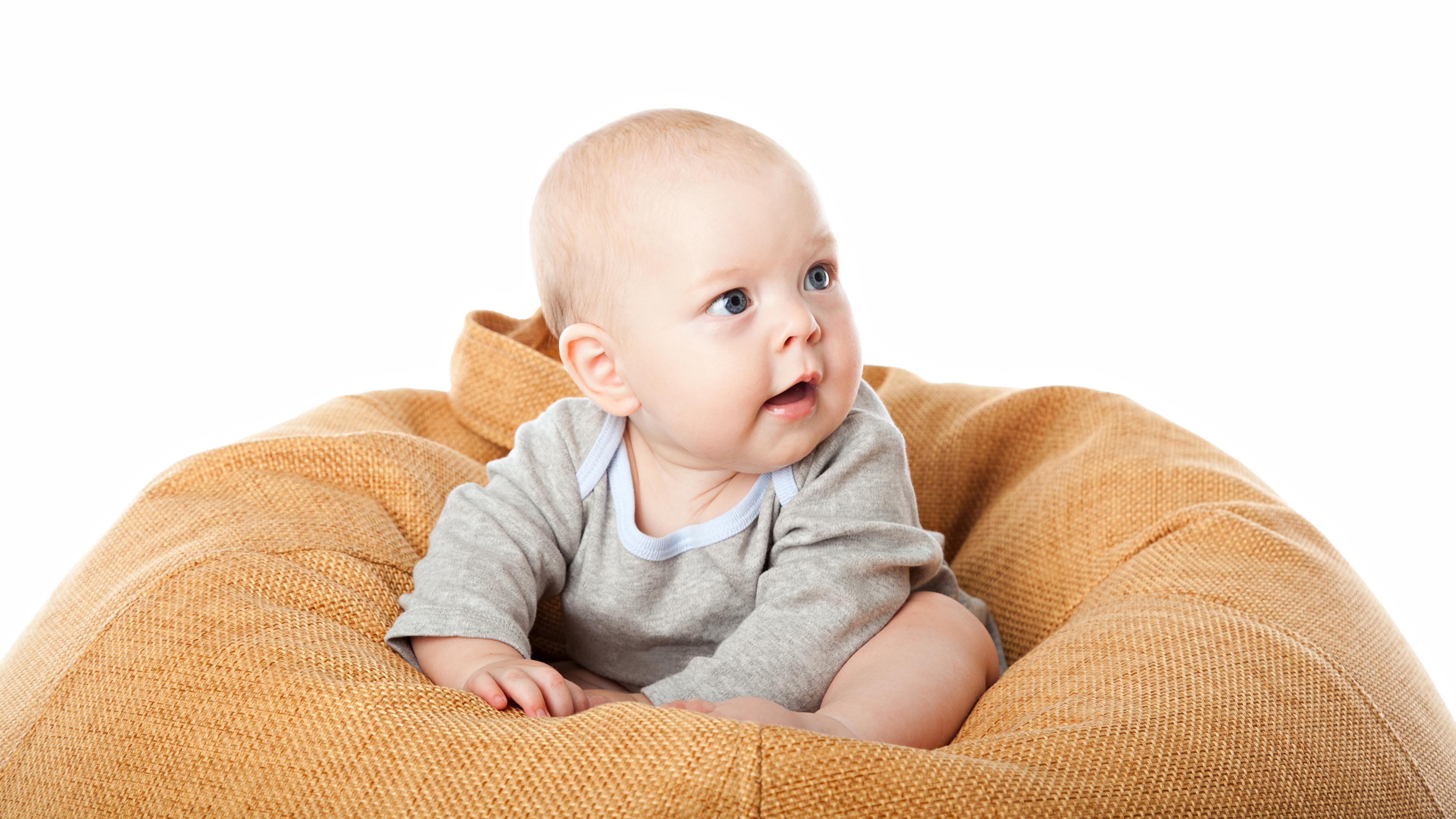 Фото Младенцы Дети смотрит белым фоном 3840x2160 младенца младенец грудной ребёнок ребёнок Взгляд смотрят Белый фон белом фоне