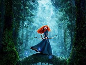 Картинки Лучники Храбрая сердцем Рыжие Merida Девушки