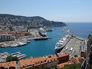 Картинка Франция Пристань Здания Корабли Залив Port Of Punta, Nice Города