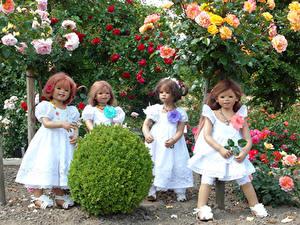 Картинки Парк Розы Кукла Девочки Платья Кусты Grugapark Essen Природа