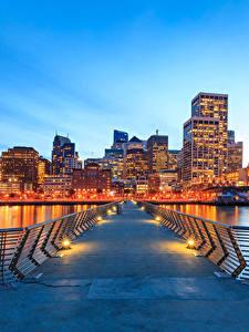 Обои США Вечер Дома Мосты Сан-Франциско Уличные фонари Залива город