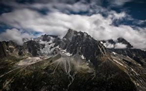 Обои для рабочего стола Франция Гора Облака Альп Les Drus, le Montenvers, France Природа