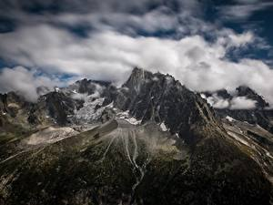 Фотографии Франция Гора Облака Альп Les Drus, le Montenvers, France Природа
