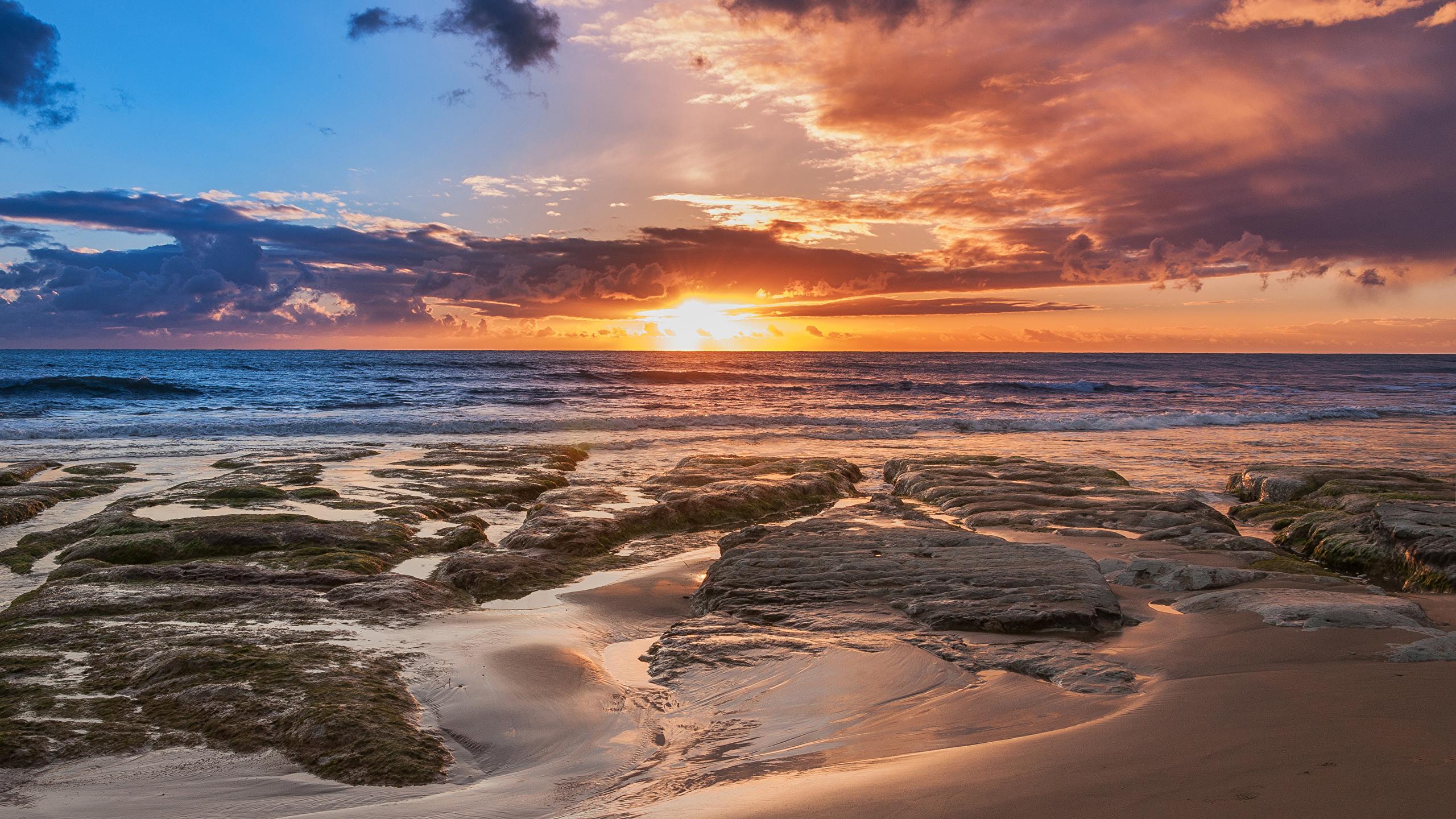 Картинка Сицилия Италия Природа Небо Рассветы и закаты Побережье Облака 2560x1440 берег