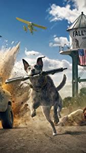Фото Far Cry 5 Собаки Автоматы Бег Игры