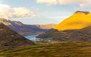 Фото Исландия Горы Озеро Каньон Sudur-Mulasysla Природа