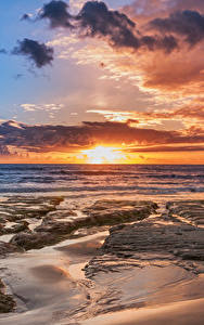 Картинка Италия Сицилия Берег Рассветы и закаты Небо Облака