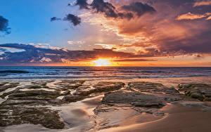 Картинка Италия Сицилия Берег Рассветы и закаты Небо Облака Природа