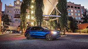 Картинки Мерседес бенц Синий 2019 GLE 350 4MATIC AMG Line Автомобили