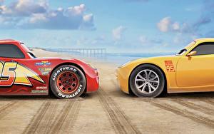 Фотографии Тачки 3 Две Желтых Красный Lightning McQueen, Cruz Ramirez Мультики