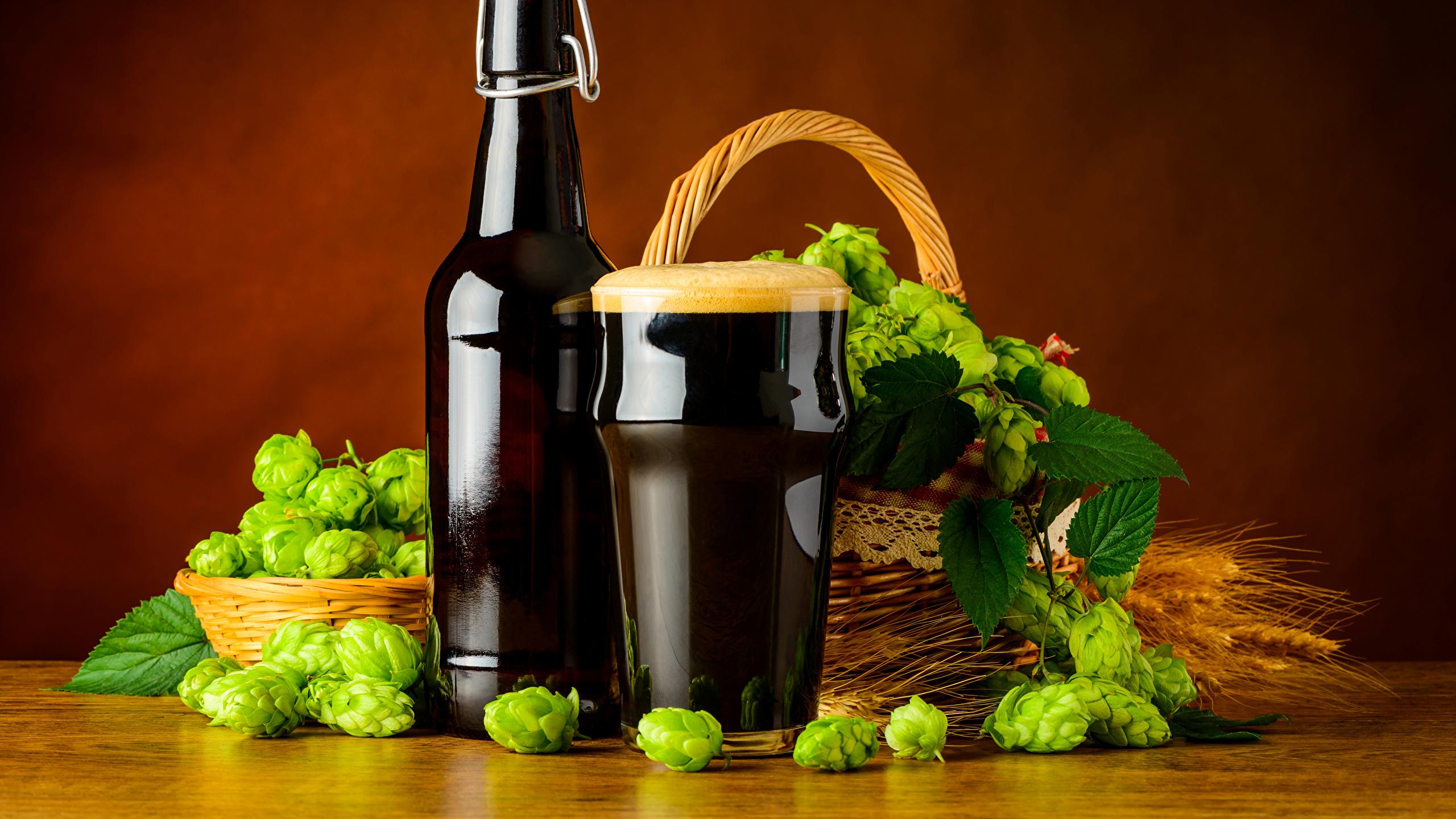 Картинки Пиво Хмель Стакан Пища Пена Бутылка 2560x1440 стакана стакане Еда пене пеной бутылки Продукты питания