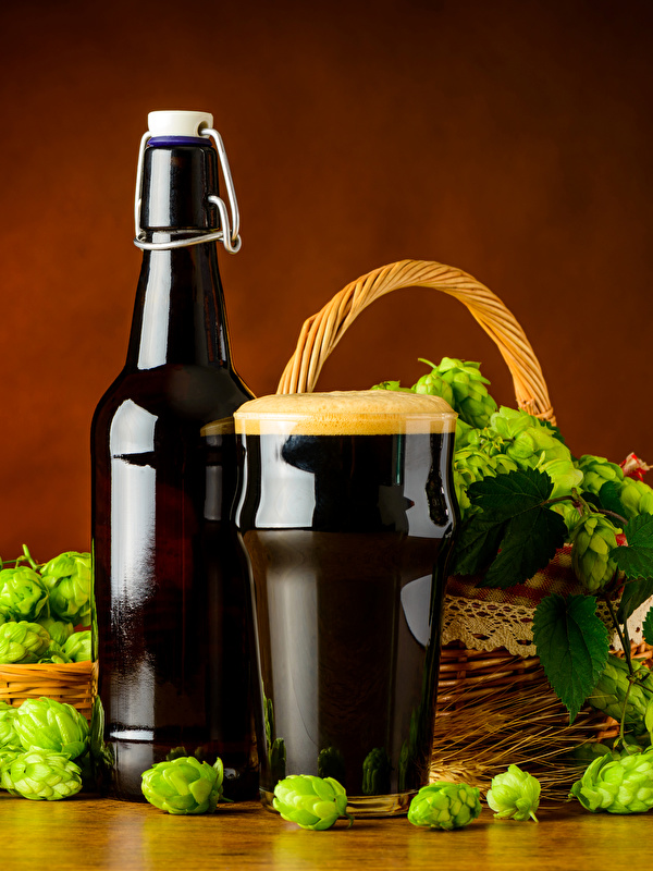 Картинки Пиво Хмель Стакан Пища Пена Бутылка 600x800 стакана стакане Еда пене пеной бутылки Продукты питания