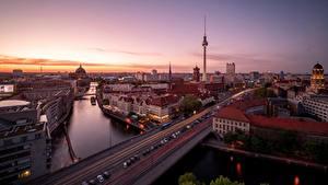 Обои Утро Германия Берлин Дороги Здания Речка Города
