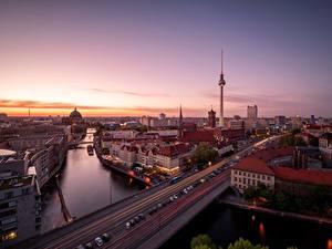 Обои Утро Германия Берлин Дороги Здания Речка