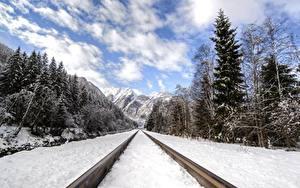 Фотография Гора Леса Зима Железные дороги Снеге Рельсах Природа