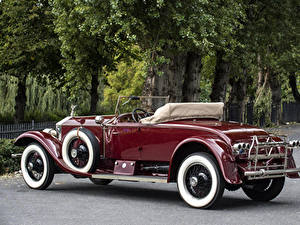 Картинка Rolls-Royce Винтаж Кабриолет Темно красный Металлик 1926 Silver Ghost 40-50 Piccadilly Roadster машина