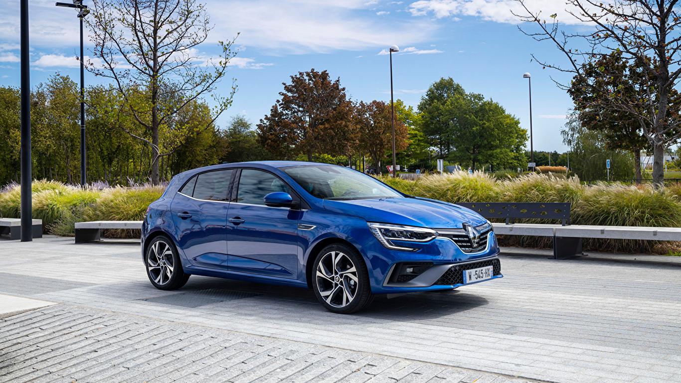 Фотография Renault Megane R.S. Line, 2020 синих Металлик Автомобили 1366x768 Рено синяя синие Синий авто машины машина автомобиль
