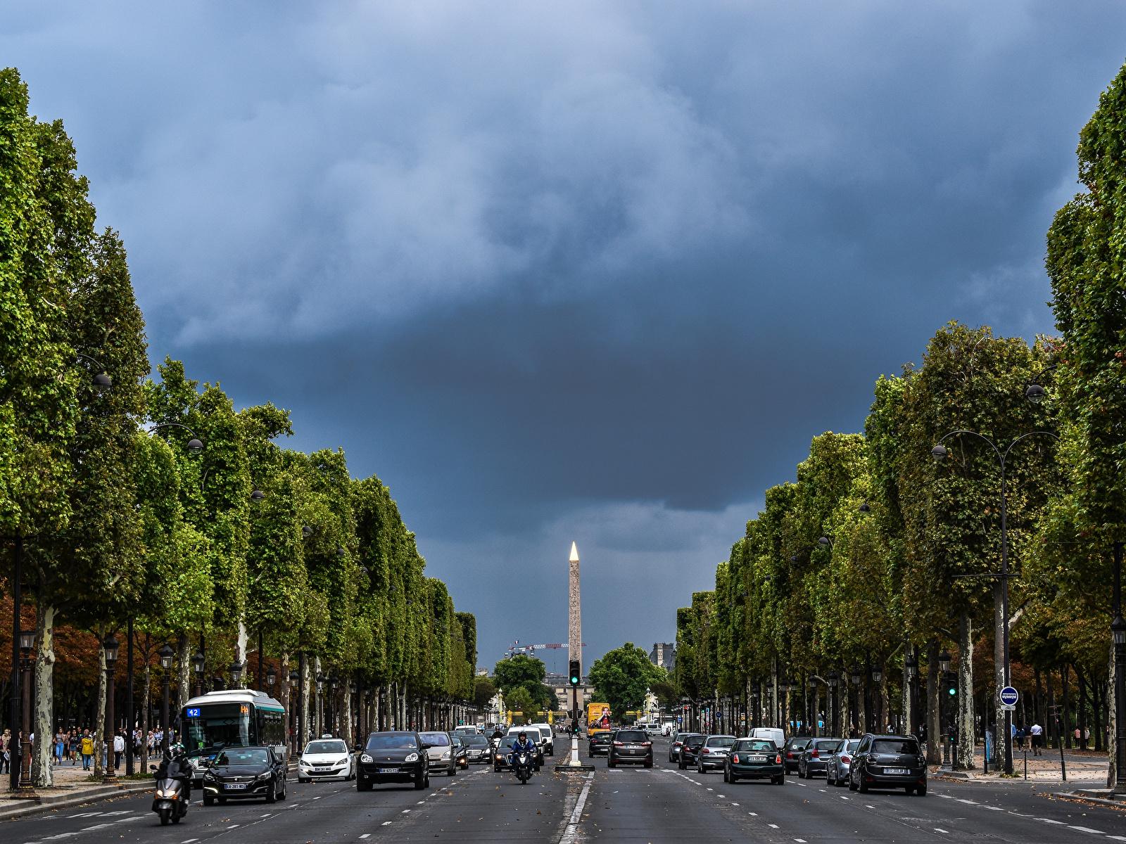 Фотографии Париж Франция Champs Elysees Дороги Города 1600x1200 париже город