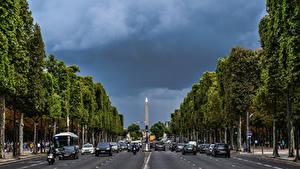 Фотографии Франция Дороги Париж Champs Elysees Города