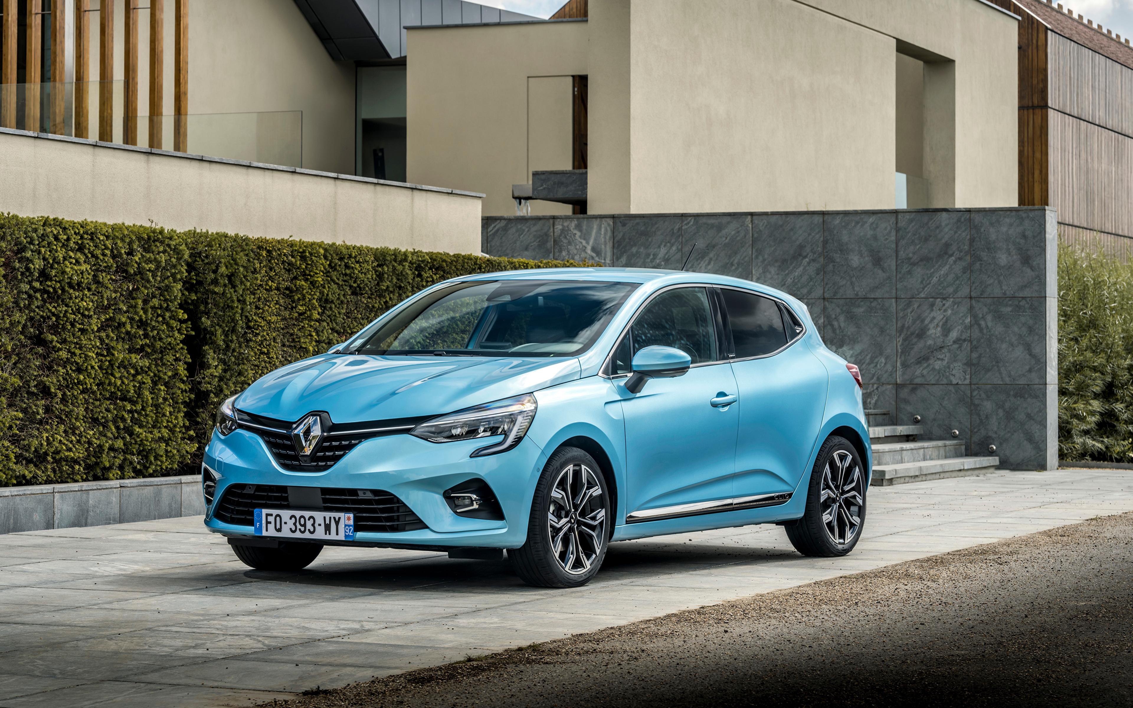 Обои для рабочего стола Рено Clio E-TECH, 2020 голубая авто Металлик 3840x2400 Renault Голубой голубые голубых машина машины Автомобили автомобиль