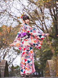 Картинка Азиатка Кимоно Позирует Размытый фон девушка