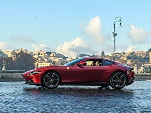 Картинки Феррари Сбоку Красная Купе Roma, 2020 авто