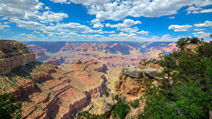 Картинка Гранд-Каньон парк США Парки Горы Небо Облака Природа