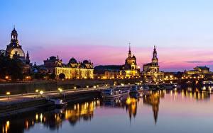 Картинка Реки Дома Дрезден Германия Вечер
