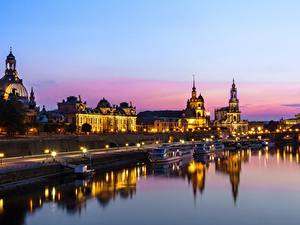 Картинка Реки Дома Дрезден Германия Вечер Города