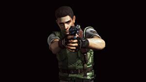Обои Resident Evil Мужчины Пистолетом Полицейский На черном фоне Chris Redfield Игры 3D_Графика