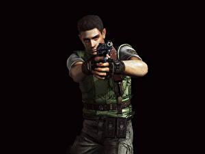 Обои Resident Evil Мужчины Пистолеты Полицейские Черный фон Chris Redfield Игры 3D_Графика