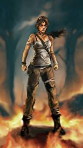 Картинка Tomb Raider 2013 Пламя Лара Крофт Игры Девушки