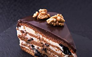 Фото Сладости Пирожное Шоколад Орехи Торты Кусочек Пища Еда