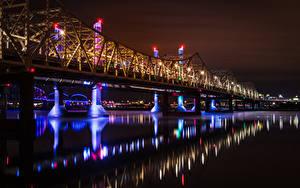 Фотография США Река Мосты В ночи Уличные фонари Louisville Ohio River Города
