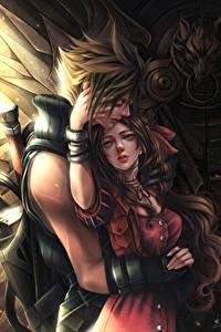 Обои Final Fantasy VII Любовь Влюбленные пары Двое Парни Cloud, Aerith Игры Фэнтези Девушки